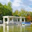 Boat pier in the Retiro park, Madrid - Stock Photo