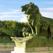 Lions statues near  of the monument to Alonso XII - Stock Photo