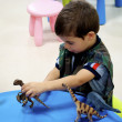 Boy plays in Mini Jurassic area — Stock Photo