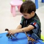 Boy plays in Mini Jurassic area — Stock Photo