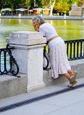 Signora Guarda sul lago — Foto Stock