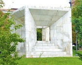 MADRID, SPAIN : Cubic monument to the Spanish Constitution. Opened in 1979. Its author was the architect Miguel Angel Ruiz-Larrea. — Stock Photo