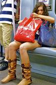 Girl in metro — Stok fotoğraf