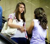 Girls in metro — Stock Photo