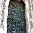 Huge door of the cathedral — Foto de Stock