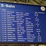 Schedule table of the railway station Zurich HB, Switzerland — Stock Photo #13455457