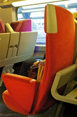Seat in a train of the SNCF, railway company of Francr — Stock Photo