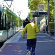 Man hurries to get the tramway — Stock Photo