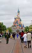Main street and the castle forward — Stock Photo