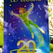 Peter Pan on a welcome poster - Stock Photo