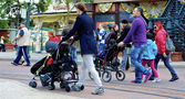 Two women and two prams — Stock Photo