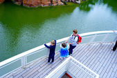 Children on the deck of the ship — Stock Photo