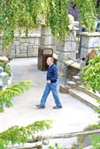 Man walks over the Disneyland — Stock Photo