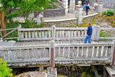 Man pass over the bridge — Stock Photo