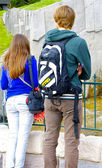 Boy and girl make tourism — Stock Photo