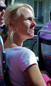 Toerist in een toeristenbus — Stockfoto
