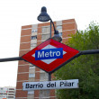 Sign of the metro station Barrio del Pilar - Stock Photo