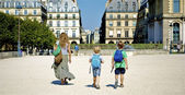 Mother and her sons walk along France — Stock Photo