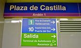 Sign of the metro station Plaza de Castilla — Stock Photo