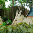 Three Indian wigwams — Stock Photo