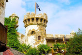 Pirate fortess with a flag — Stock Photo