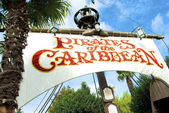 Pirates of the Caribbean white sign — Stock Photo