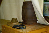 Hat and arm of Indiana Jones — Stock Photo