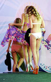 All contestants walk away after the bikini contest of the show — Stock Photo