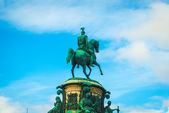 Monumet to Nikolay II on the horse in front of the sky in Saint — Stock Photo