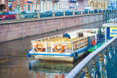 Boat over the Griboyedov channel — Stock Photo