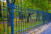 Metal fense of the park — Stock Photo