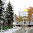Road in snow to the orthodox church - Stockfoto