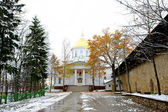 Road in snow to the orthodox church — Stock Photo