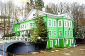 Green building and a bridge in winter — Stok fotoğraf