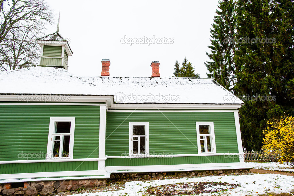Green house in the village Mihaylovskoe in winter  Stock Photo #14736661