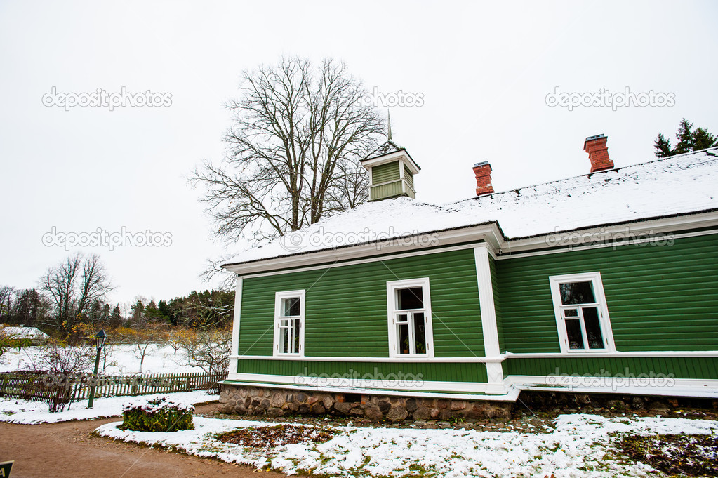 Green house in the village Mihaylovskoe in winter  Stock Photo #14736669