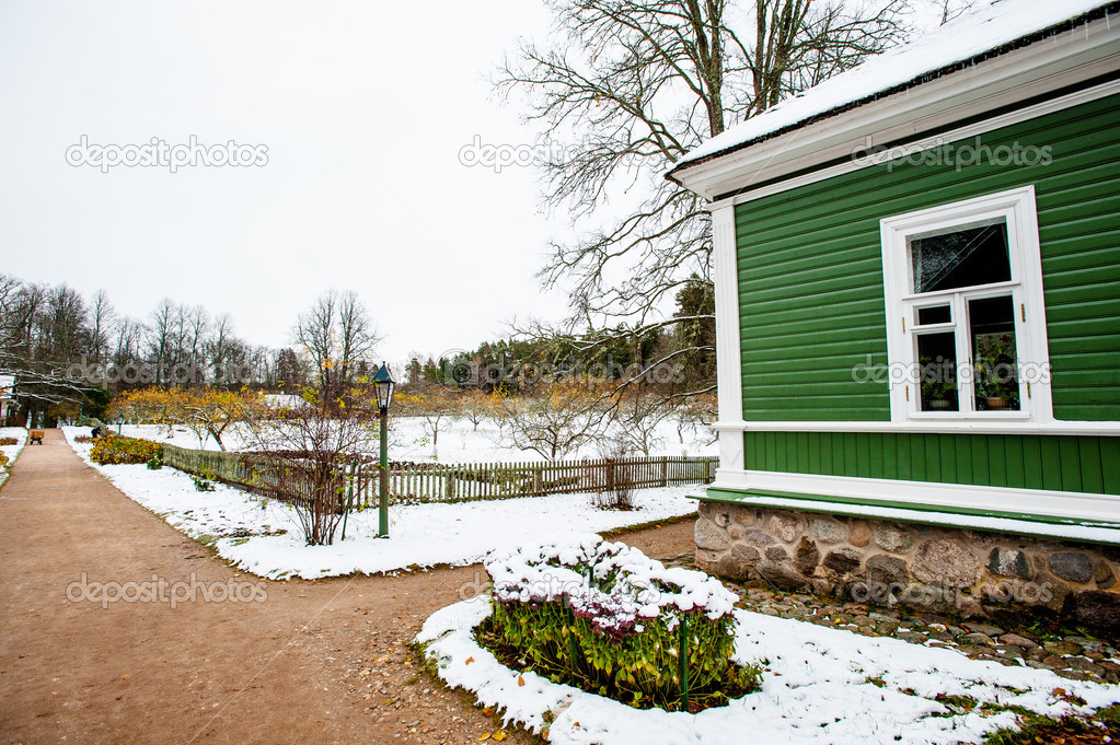 Green house in the village Mihaylovskoe in winter — Stock Photo #14736695