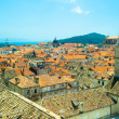 Roofs of the old town of Dubrovnik, Croatia. And the bell tower — Stock Photo