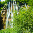 View of the waterfall under the blue sky, in Croatia — Stock Photo #16225445