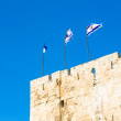 Israeli flags on the Wall of Jerusalem, Israel — Stock Photo