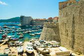 View on the Adriatic Sea port in Dubrovnik, Croatia — Stock Photo