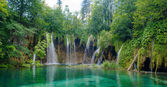 Nature with waterfall in a forest in Croatia, transparent river — Stock Photo