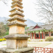 Pillar in fron of the Pavillion at Pohyeon-sa in Myohyang-san, N — Stock Photo