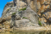 Bottom of the rock formation and a lake on the Mount Kumgang in — Stock Photo