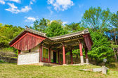 Red desks house near the Tomb of King Kongmin — Stok fotoğraf