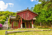 Red desks house near the Tomb of King Kongmin — Stock Photo