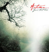 Autumn poster with misty forest — Stock Photo
