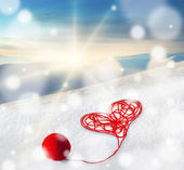 Valentine day greeting, card, illustration, poster with red heart — Stock Photo