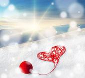 валентина день приветствие, карты, иллюстрации, плакат с красным сердцем — Стоковое фото