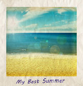 Summer beach illustration with blue sea and sky in rays of sunlight. Summer holidays card, place for text. — Stock Photo